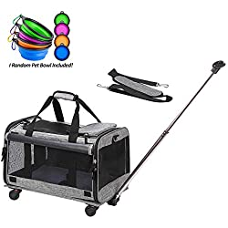 Coopeter Pet Carrier Stroller with Wheels for Travel and Outdoor,Easy to Fold,Durable Mesh Panels & Washable Fleece Mat ... (Grey)