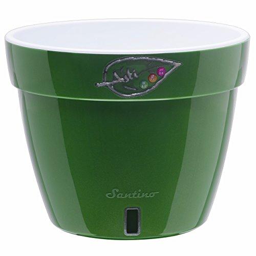 Santino Self Watering Planter Asti 7.1 Inch Green-Gold/White Flower Pot