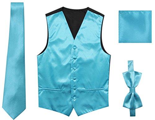JAIFEI Satin Men Wedding Vest – Set With Neck Tie, Bow Tie & Handkerchief (XL(Chest 45), (Blue Cream Mens Satin)