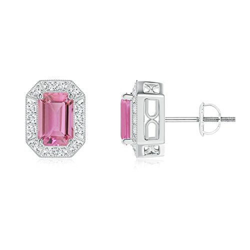 Pink Earring Emerald Cut Tourmaline (Emerald-Cut Pink Tourmaline and Diamond Halo Stud Earrings in Platinum (6x4mm Pink Tourmaline))