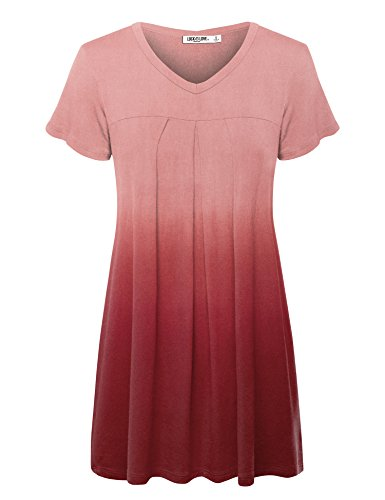 WT1085 Womens Dip Dye V Neck Short Sleeve Pleats Tunic Top XXXL WINE