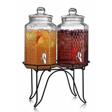 Home Essentials 1842 Del Sol Hammered Jug Beverage Dispenser With Rack, Set Of 2