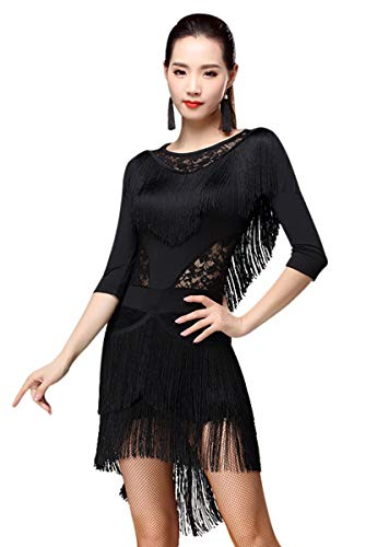 - ZX Women Fringed Latin Costume Lace Neck Tango Rumba Latin Dance Dress Performance (Tag M, Black)