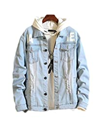 SELX Men Fashion Wash Letters Print Hole Ripped Distressed Buttons Jeans Coat