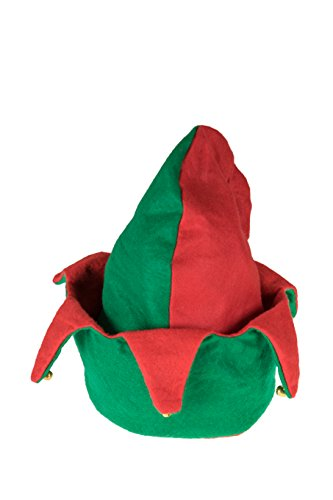 Forum Green Beanie (Novelty 2 Sided Red and Green Elf Hat with Jingle Bells by Clever Creations | One Size Fits Most Christmas Hat For Both Kids and Adults)