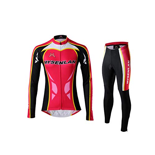 (Mysenlan Women's Cycling Long Sleeve Breathable Jersey Set 3D Padded Long Pants Bike Shirt Bicycle Tights Clothing)