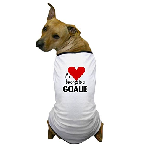 [CafePress - Heart belongs, goalie Dog T-Shirt - Dog T-Shirt, Pet Clothing, Funny Dog Costume] (Hockey Player And Puck Bunny Costume)
