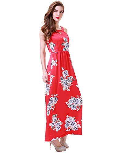 Silk Halter Neck Dress (Aphratti Women's Sleeveless Bohemian Halter Long Beach Maxi Dress Medium Red)