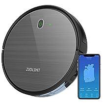 ZIGLINT D5 ロボット掃除機 自動充電 Alexa Googleホーム接続 予約清掃システム カーペット掃除 WiFi 対応 アプリ制御 強力吸引 1800PA 落下 衝突防止 ダークグレー【二年保证】