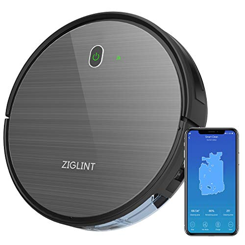 (ZIGLINT D5 Robot Vacuum Cleaner, App & Remote Controls, Alexa & Google Home Connectivity, 1800Pa High Suction, Self-Charging Robotic Vacuum Cleaner for Pet Hair Hard Floor Carpets, 2-Year Warranty)