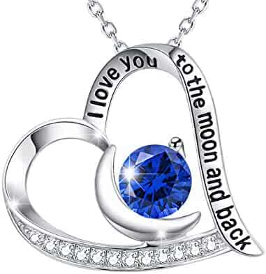 September Birthstone Blue Sapphire Necklace for Women Birthday Gifts I Love You to the Moon and Back Heart Moon Sterling Silver Fine Jewelry