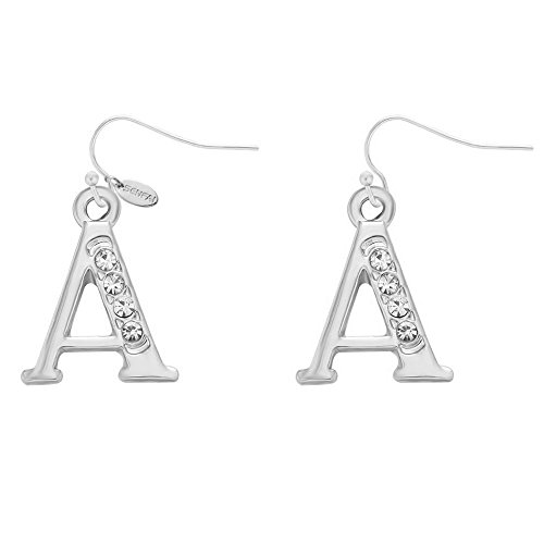 SENFAI Alloy 26 Alphabet English Letters Crystal Initial Charms Earrings Rhodium Plated (A)