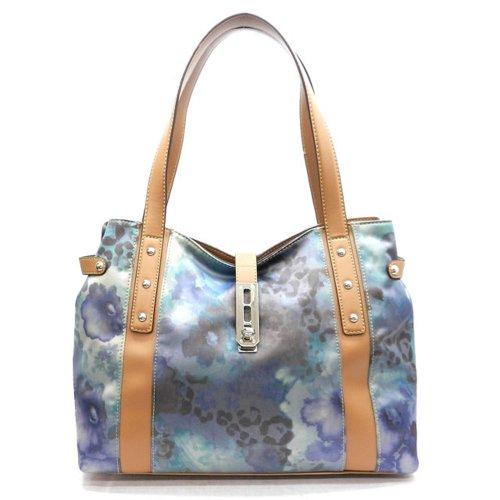 - Designer Inspired Belt Blue Lock Satin Print Tan L Xl Hobo Bag Handbag Purse