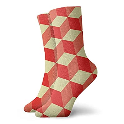 WEEDKEYCAT Orange 3D Cubes Red Yellow Adult Short Socks Cotton Fun Socks for Mens Womens Yoga Hiking Cycling Running Soccer Sports