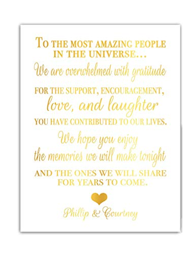 Gold Foil Wedding Thank You Table Sign For Guest Place Card For Wedding Reception Fancy And Elegant