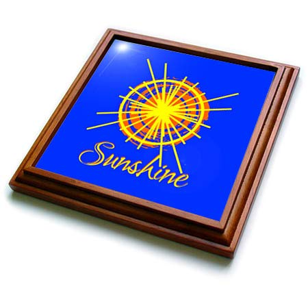 3dRose Alexis Design - Weather - Image of orange and yellow sun, the text Sunshine on blue sky - 8x8 Trivet with 6x6 ceramic tile ()