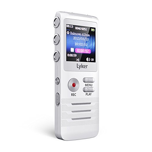 Voice Recorder for Lectures, Digital Audio Recorder 8GB 16 Levels AGC Voice Activated 6 Levels PCM Linear Noise Cancelling Digital Recorder with Metal Housing