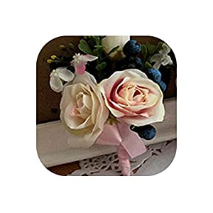loveinfinite Handmade Rose Berry Wedding Prom Corsage Groom Boutonniere Lapel Pin Bracelet Party Bride Decor Exquisite Wrist Corsages Flowers,5 38
