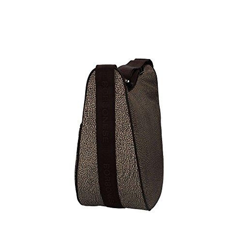 Borsa a tracolla Borbonese Luna Bag Medium in tessuto Jet o.p. naturale
