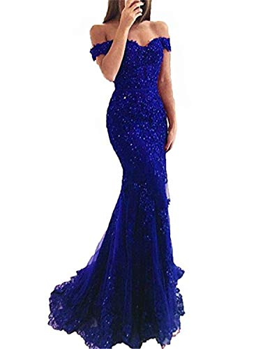 - Mermaid Evening Dresses Long 2018 Off The Shoulder Royal Blue Lace Mermaid Prom Gowns with Beaded