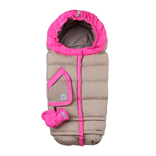 7AM Enfant Blanket 212 Evolution Extendable Baby Bunting Bag Adaptable for Strollers, Beige/Neon Pink by 7AM Enfant