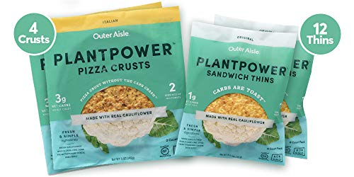 Outer Aisle Gourmet Cauliflower Sandwich Thins - Low Carb, Gluten Free, Paleo Friendly, Keto ... (OAG Originals, Pack of 4)