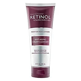Retinol Anti-Aging Cream Cleanser – Daily Deep Cleansing Facial Wash Exfoliates to Improve Skin's Texture & Moisturizes…