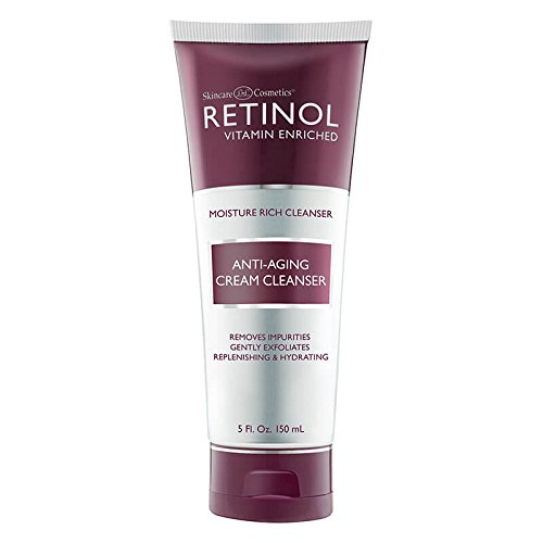 Retinol Anti-Aging Cream Cleanser - Daily Deep Cleansing Facial Wash Exfoliates to Improve Skin's Texture & Moisturizes for Cleaner, Softer Face - Renewing Vitamin A Minimizes Fine Lines & Wrinkles