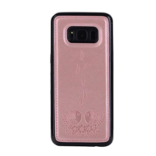 Embossing Bird Pattern PU Leather Case with Detachable Back Cover, Flip Stand Wllet Pouch Case with Lanyard & Card Slots for Samsung Galaxy S8 (Color : Rosegold) Rosegold