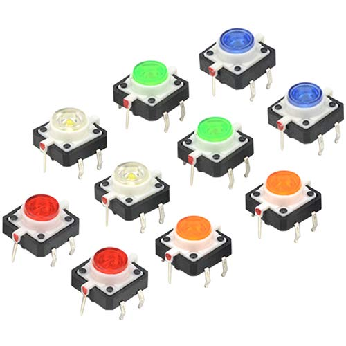 WMYCONGCONG 10 PCS LED Momentary Tactile Tact Push Button Switch 12 mm x 12 mm x 7 mm Red White Yellow Blue Green