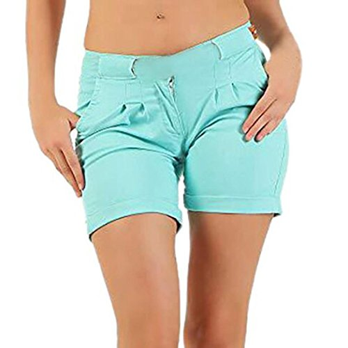 Summer Clearanc!Womens Casual Solid Pocket Pleated Zipper Button Chinos Pants Shorts by-NEWONESUN