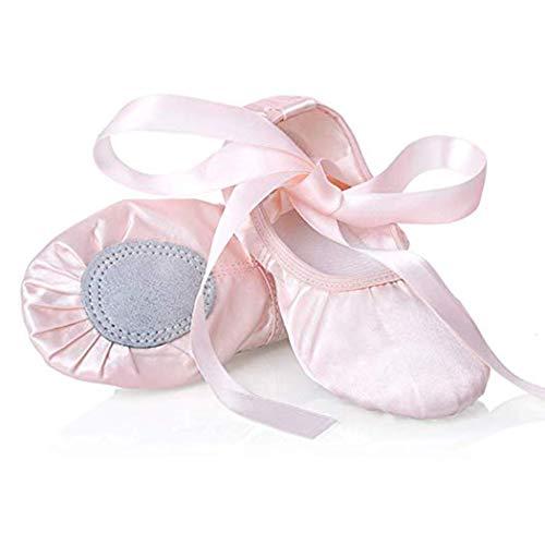 Chimei Ballet Dance Shoes for Goddler Girls Kids Women Pink Red Slipper Satin Flat Physical Shoe ()