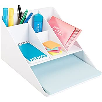 mDesign Office Supplies Desk Organizer for Scissors, Pens, Markers, Highlighters, Tape with Paper Tray - White