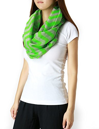 Fandsway Womens Fashion Infinity Oblong Include Special Pack Scarf (Neon Green/Gray-ad2030-10)
