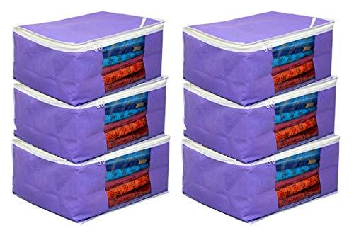Kuber Industries™ Non Woven Saree Cover Bag Set of 6 Pcs/Wardrobe Organiser/Regular Clothes Bag PU 19162