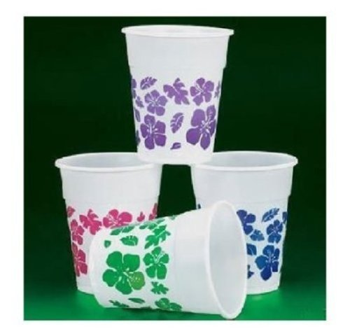 Fun-Express-50-Plastic-Hibiscus-Drink-Cups-Luau-Party-DecorTropical-Beverage-Novelty-16-oz