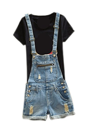 Women's Plus Size Cute Short Denim Overall Distressed Bib Cowboy Jumpsuit with Shorts 36 Blue