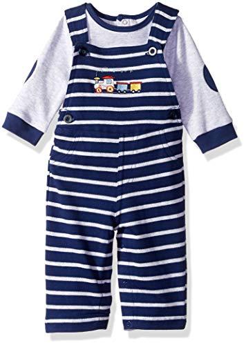 Newborn Train Set - Little Me Baby Boys Overall Set, Train Medieval Blue/Soft Heather Grey/Multi, 6 Months