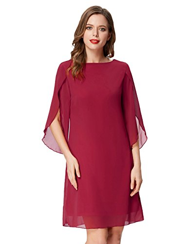 GRACE KARIN Women Chiffon Evening Dress for Party Wedding 3/4 Sleeve Midi Dress Wine Red XL ()