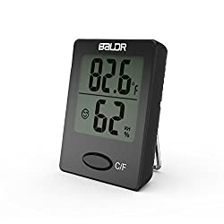 Baldr Mini Digital Portable Versatile Thermometer Hygrometer Monitor Temperature Gauge Humidity With Standing Wall Hanging Magnet Babyroom Greenhouse Black