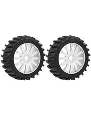 VGEBY1 El neumático de Goma 2Pcs, Rueda de los neumáticos de Coche de la Mejora RC con el Eje de la llanta para 1/8 Carro del Control Remoto del Coche