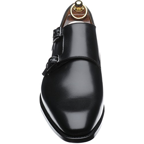 Herring Shakespeare double Monk scarpe in vitello nero, Nero (Black Calf), 44