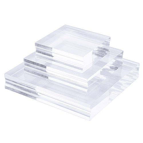 DECORA 3 Pieces Stamp Blocks with Acrylic Clear Stamping Blocks Set Stamping Tools for Crafts Making