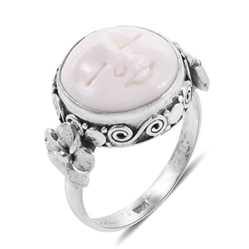 Bone Face Ring - 925 Sterling Silver Fancy Ox Bone Fashion Ring for Women Size 10