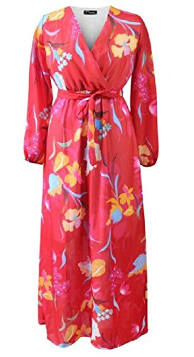 Chiffon Chic Waist Women Digital Coolred Print Midi As2 Long Sleeve Dress Belt qXZqwH8