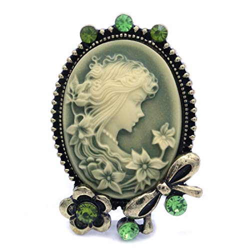 Soulbreezecollection Green Cameo Brooch Pin Flower Ribbon Rhinestones Fashion Jewelry for Women