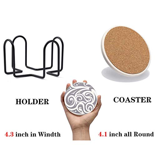 6 Pcs Coasters for Drinks with Holder | QBOSO Absorbent Ceramic Stones Coaster | Perfect Decor For Living Room Kitchen Or Office |Unique Gift for Friends