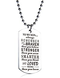 """To My Son Tag Stainless Steel Pendant""""always REMEMBER you are BRAVER than you believe""""Letters Boys Necklace Military Chain Air Force Pendant"""
