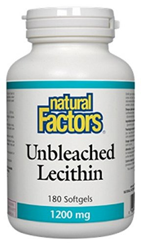 (Natural Factors - Unbleached Lecithin 1200mg, Supports Emulsification of Dietary Fats, 180 Soft Gels)