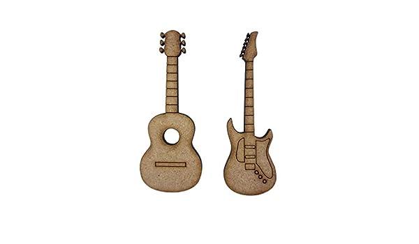 8 x eléctrica acústica guitarras 7 cm madera Craft Embelishments Laser Cut forma MDF: Amazon.es: Hogar